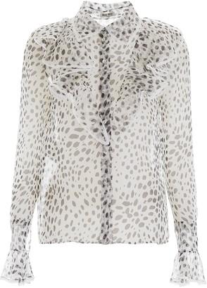 Miu Miu Dalmatian Print Ruffle Collar Sheer Blouse