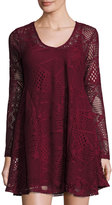 Romeo & Juliet Couture Lace A-line Dress, Burgundy