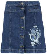 Tom Tailor SKIRT WITH EMBROIDERY Denim skirt dark blue denim
