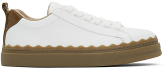 Chloé White and Brown Lauren Sneakers