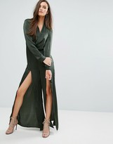 Style Stalker Stylestalker Wrap Satin Jumpsuit With Leg Splits