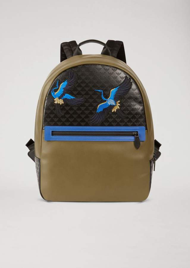 Emporio Armani Backpack In Faux Leather With All-Over Logo And Embroidery