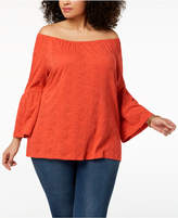 Style&Co. Style & Co Plus Size Cotton Eyelet Off-The-Shoulder Bell-Sleeve Top, Created for Macy's
