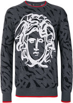 Versace painted Medusa intarsia knit - men - Wool - 46
