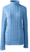 Classic Women's Plus Size Lofty Blend Aran Cable Turtleneck Sweater-Calm Blue