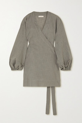 Cloe Cassandro - Net Sustain Emmie Organic Cotton-gauze Wrap Dress - Gray green