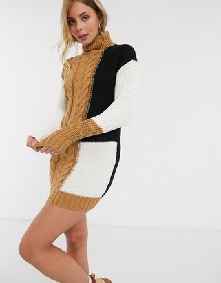 Brave Soul roll neck color block cable knit sweater dress