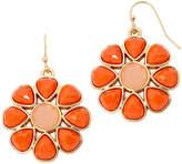 Liz Claiborne Gold-Tone Orange Stone Flower Drop Earrings