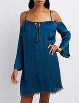 Charlotte Russe Crochet-Trim Cold Shoulder Shift Dress