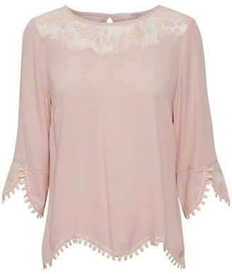 Cream Lacy Blouse With 3/4 Sleeves - Rose / 36
