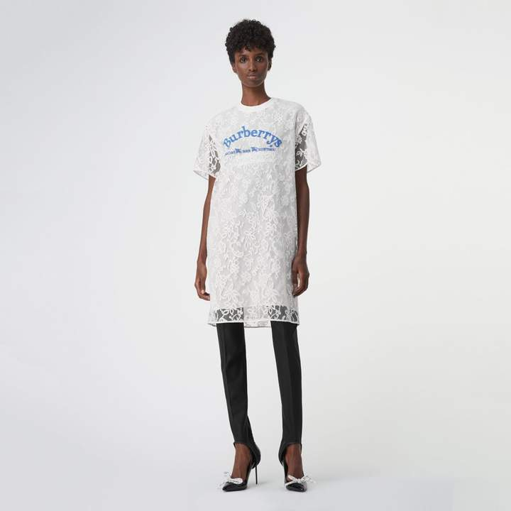 Burberry Embroidered Archive Logo Lace Dress , Size: 08, White