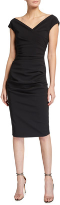 Chiara Boni Cap-Sleeve Ruched Front Sheath Dress
