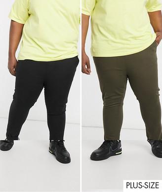 Asos DESIGN Plus skinny chinos with elastic waist in black & dark khaki save
