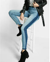 Express high waisted contrast panel stretch ankle jean legging