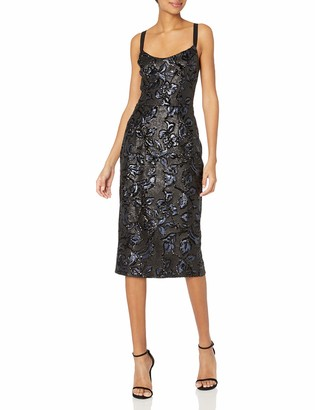 Dress the Population Women's Camilla Plunging Sequin Sleeveless Bodycon MIDI Sheath Dress