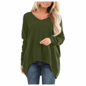 TOPKEAL Women Ladies Girl Long Sleeve Tops Sweatshirt Bluses Plus Size V Neck Irregular Loose Solid Color Elegant Baggy Casual T-Shirts Tunic Jumper Pullover Vest Tops Tee (Green XXXXXL)