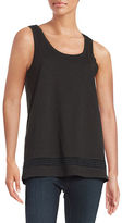 Lord & Taylor Petite Embroidered Cotton Tank