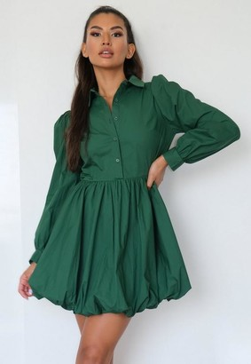 Missguided Green Puff Hem Shirt Dress
