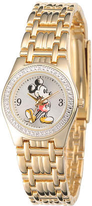Character Disney Womens Gold-Tone Metal Alloy Strap Mickey Mouse Bracelet Watch