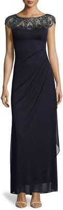 Xscape Evenings Cap Sleeve Beaded Ruched Gown