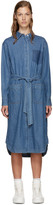 Sjyp Blue Denim Belted Shirt Dress