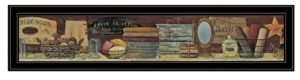 "Trendy Décor 4U Country Bath Shelf by Pam Britton, Ready to hang Framed Print, Black Frame, 39"" x 9"""