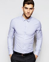 Asos Skinny Stripe Shirt In Blue