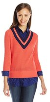 U.S. Polo Assn. Juniors' Dot-Print Shirt and Cropped V-Neck Sweater Top