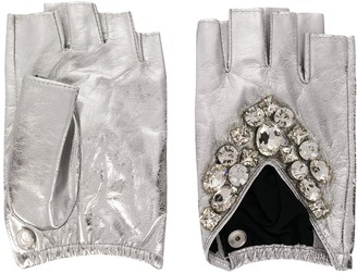 Karl Lagerfeld Paris K/Geostone fingerless gloves