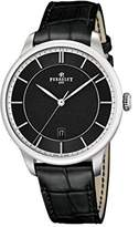 Perrelet First Class Men's Automatic Watch with Black Dial Analogue Display and Black Leather Strap A1073/5