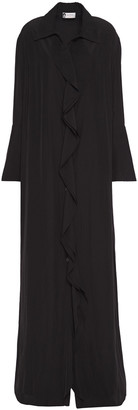 Lanvin Ruffled Crepe De Chine Maxi Shirt Dress