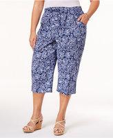 Karen Scott Plus Size Cotton Printed Capri Pants, Created for Macy's