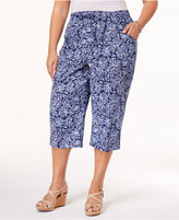 Karen Scott Plus Size Cotton Printed Capri Pants, Only at Macy's