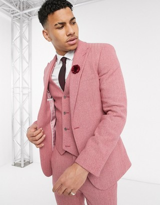 ASOS DESIGN wedding super skinny suit jacket in rose pink wool blend herringbone