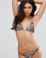 Motel Leopard Triangle Bikini Top