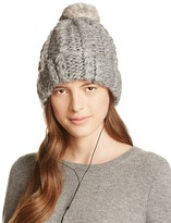 Rebecca Minkoff Cable Knit Tech Beanie with Fur Pom-Pom