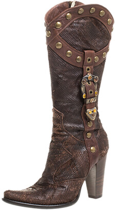 Loriblu Dark Brown Embossed Leather Studded Buckle Knee Boots Size 38.5