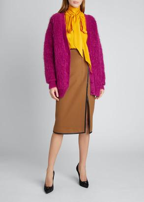 Saint Laurent Oversized Fuzzy Long-Sleeve Cardigan