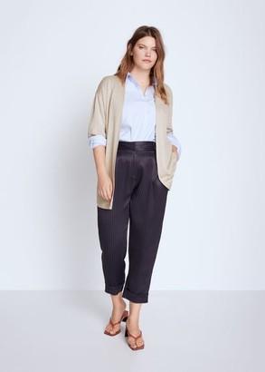 MANGO Violeta BY 100% linen cardigan sand - S - Plus sizes