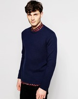 Peter Werth Textured Knitted Crew Neck Jumper - Blue