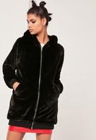 Missguided Black Hooded Longline Faux Fur Bomber Jacket