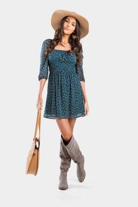 francesca's Mila Floral Square Neck Dress - Teal