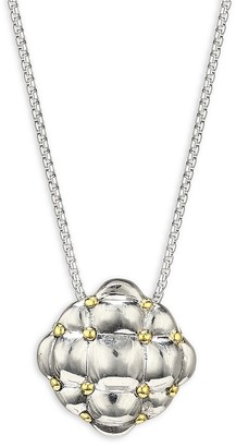 Charles Krypell Sterling Silver 18K Yellow Gold Embossed Pendant Necklace