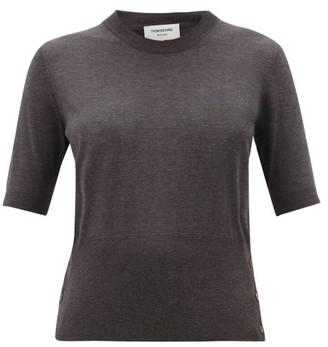 Thom Browne Back-stripe Silk-blend Top - Dark Grey