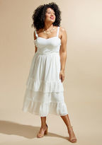 In this white dress from our ModCloth namesake label, you're the picture of bliss! Beautifully touched with boho-inspired details like crocheting at the straps, waist, and skirt, ruffled tiers cascading down toward the hem, and sweet Swiss dots. Flourishe