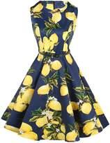 Fit Design FitDesign Women's 1950s A Line Vintage Dresses Audrey Hepburn Style Floral Party Dress