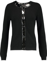 Love Moschino Faux Leather-Trimmed Stretch-Wool Cardigan