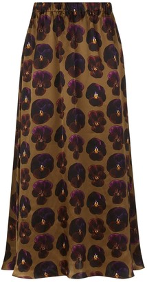 Phoebe Grace Plain Jane Midi Skirt in Giant Pansy Print