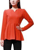 Allegra K Women Split Neck Long Puff Sleeves Tunic Peplum Top M
