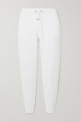 Brunello Cucinelli Bead-embellished Ribbed Cotton Track Pants - White